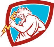 Zeus Wielding Thunderbolt Shield Retro Lizenzfreies Stockbild