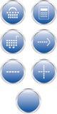 Zeven blauwe Webknopen (elektronische handel) Stock Foto