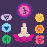 Zeven chakras voor yogaaf:drukken Royalty-vrije Stock Afbeeldingen