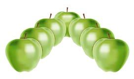 Zeven groene appelen Stock Fotografie