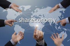 Zeven handen met shareconomyillustratie Stock Fotografie