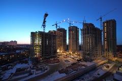 Zeven hoge gebouwen in aanbouw Royalty-vrije Stock Afbeeldingen