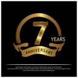 Zeven jaar verjaardags gouden het ontwerp van het verjaardagsmalplaatje voor Web, spel, Creatieve affiche, boekje, pamflet, vlieg royalty-vrije illustratie