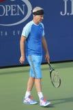 Zeven keer Grote Slagkampioen John McEnroe tijdens US Open 2014 de gelijke van de kampioenententoonstelling Royalty-vrije Stock Fotografie