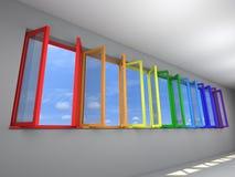 Zeven kleuren van de venstersregenboog Stock Afbeeldingen