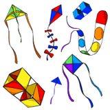Zeven kleurrijke vliegers Royalty-vrije Stock Foto's