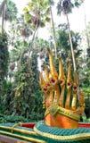 Zeven leidden serpentkoning of koning van nagastandbeeld in Kamchanod Royalty-vrije Stock Fotografie