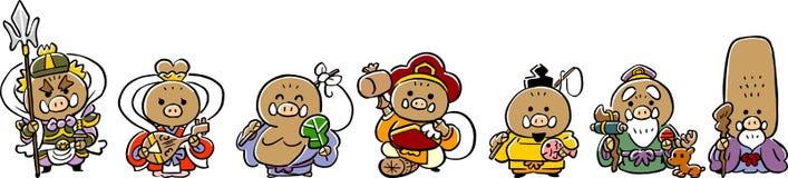 Zeven Lucky Gods van een de Lijnmateriaal van beer _Nieuwjaarskaarten _ royalty-vrije illustratie