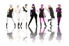 Zeven mooie meisjes Royalty-vrije Stock Foto's