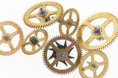 Zeven oude gouden tandraderen Royalty-vrije Stock Foto's