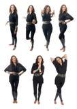 Zeven stellen reeks van krullende brunette Stock Fotografie