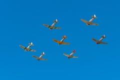 Zeven AT-6 Texans met Duidelijke Hemel Stock Afbeeldingen