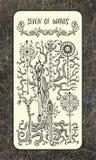 Zeven van toverstokjes De Magische kaart van het Poorttarot stock illustratie