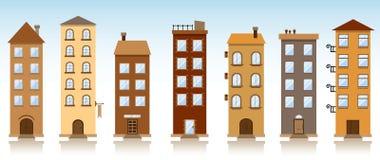 Zeven vectorgebouwen Stock Fotografie