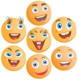 Zeven vrolijke smilies Stock Fotografie