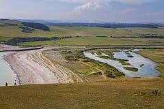 Zeven Zusters Nationaal Park, Cuckmere-rivier en de gangen van het land, E stock afbeelding