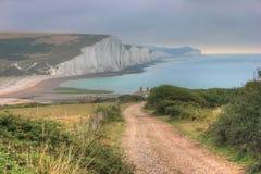 Zeven Zustersklippen, het Verenigd Koninkrijk, Engeland stock afbeeldingen