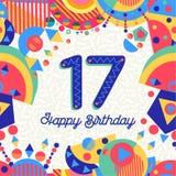 Zeventien aantal van de de groetkaart van de 17 jaarverjaardag Stock Afbeeldingen