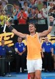 Zeventien keer Grand Slam-viert de kampioen Rafael Nadal van Spanje overwinning na zijn halve finalegelijke bij het Australian Op stock foto's