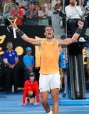 Zeventien keer Grand Slam-viert de kampioen Rafael Nadal van Spanje overwinning na zijn halve finalegelijke bij het Australian Op stock fotografie