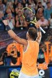 Zeventien keer Grand Slam-viert de kampioen Rafael Nadal van Spanje overwinning na zijn halve finalegelijke bij het Australian Op royalty-vrije stock afbeelding