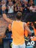 Zeventien keer Grand Slam-viert de kampioen Rafael Nadal van Spanje overwinning na zijn halve finalegelijke bij het Australian Op royalty-vrije stock foto