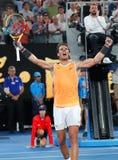 Zeventien keer Grand Slam-viert de kampioen Rafael Nadal van Spanje overwinning na zijn halve finalegelijke bij het Australian Op royalty-vrije stock fotografie