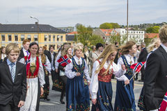 Zeventiende van kan, de nationale dag van Noorwegen Royalty-vrije Stock Foto