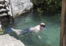 Zeventig éénjarigenmannetje die in Val Ku Lagoon snorkelen stock foto's