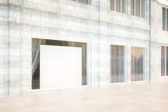 Zewnętrzna witryna sklepowa z pustym billboardem, wyśmiewa up, 3D Odpłaca się ilustracja wektor