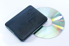 Zewnętrznie czarny dysk twardy z cd zdjęcia royalty free