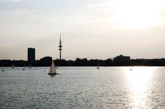 Zewnętrzny Alster jezioro Hamburg, Niemcy - zdjęcie royalty free