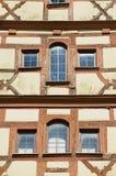 Zewnętrzny szczegół dziejowy drewniany ramowy budynek w Rothenburg Ob Dera Tauber, Niemcy Zdjęcie Royalty Free