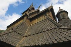 Zewnętrzny szczegół Hopperstad klepki kościół w Vik, Norwegia Zdjęcia Royalty Free