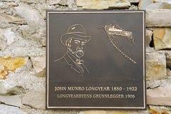 Zewnętrzny szczegół pomnik John Munro Longyear w Longyearbyen, Norwegia Obrazy Stock