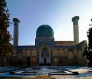 Zewnętrzny widok Gur-i emira mousaleum, grobowiec Tamerlan, Samarkand, Uzbekistan obraz royalty free