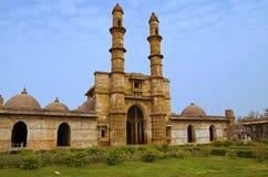 Zewnętrzny widok Jami Masjid meczet, UNESCO ochraniał Champaner, Pavagadh Archeologicznego parka -, Gujarat, India Daty 1513 rekl obrazy royalty free