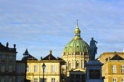 Zewnętrzny widok Marmurowy kościół (Frederik kościół) Zdjęcia Royalty Free