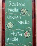 Zewnętrzny menu kartel w Barcelona, Hiszpania - Obraz Royalty Free