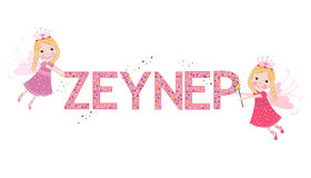 Zeynep female name with cute fairy Royalty Free Stock Photos
