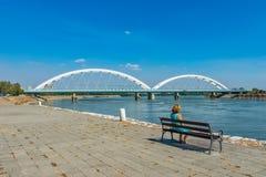 Zezeljbrug over Donau in Novi Sad stock foto