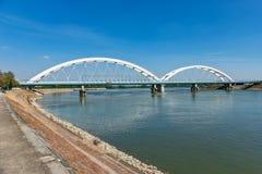 Zezeljbrug over Donau in Novi Sad stock foto's