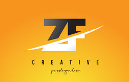 ZF Z F Letter Modern Logo Design with Yellow Background and Swoo Stock Photography