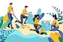 Zgłaszać się na ochotnika, dobroczynność socjalny pojęcie Ochotniczy ludzie czyści śmieci na plażowym terenu lub miasta parku, we royalty ilustracja