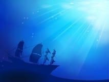 Zgłębia błękitnego ocean z shipwreck jako sylwetki bac royalty ilustracja