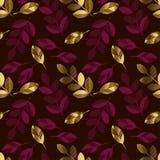 Zgłębia - czerwonego koloru dekoracyjnego bezszwowego wzór z złocistymi elementami royalty ilustracja