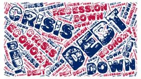 Zgłębiający, gospodarka, recesja, kryzys: Słowo chmury etykietka Zdjęcie Stock