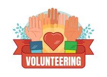 Zgłaszać się na ochotnika pojęcie odznaki wektorową ilustrację Obrazy Royalty Free