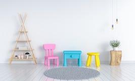 Zgłasza i krzesło w białym dziecko pokoju dla mockup, 3D rendering Royalty Ilustracja