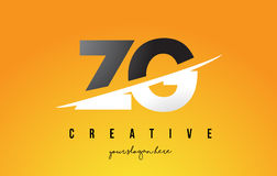 ZG Z G Letter Modern Logo Design with Yellow Background and Swoo Stock Photography